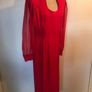 Vintage Dresses - Vintage red sheer sleeve dress